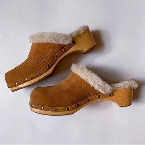 UGG Chestnut Kalie Wooden Fur Lined Clog Size 9